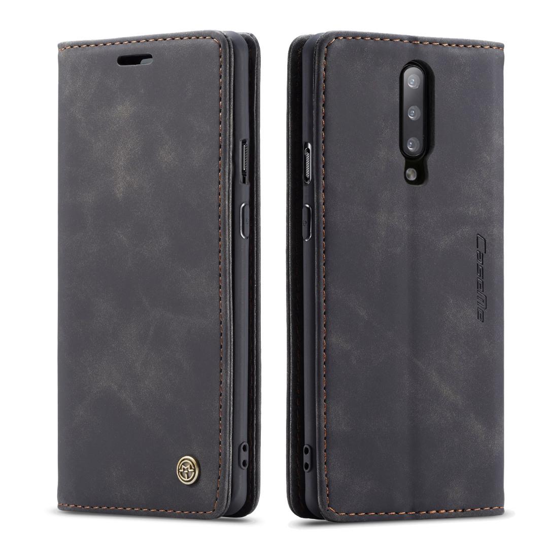 Husa slim piele, tip portofel, stand, inchidere magnetica, textura catifelata, OnePlus 7 Pro - CaseMe, Negru