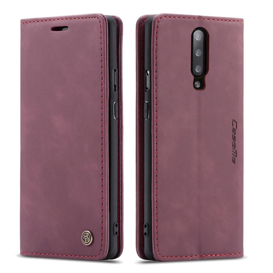 Husa slim piele, tip portofel, stand, inchidere magnetica, textura catifelata, OnePlus 7 Pro - CaseMe, Visiniu