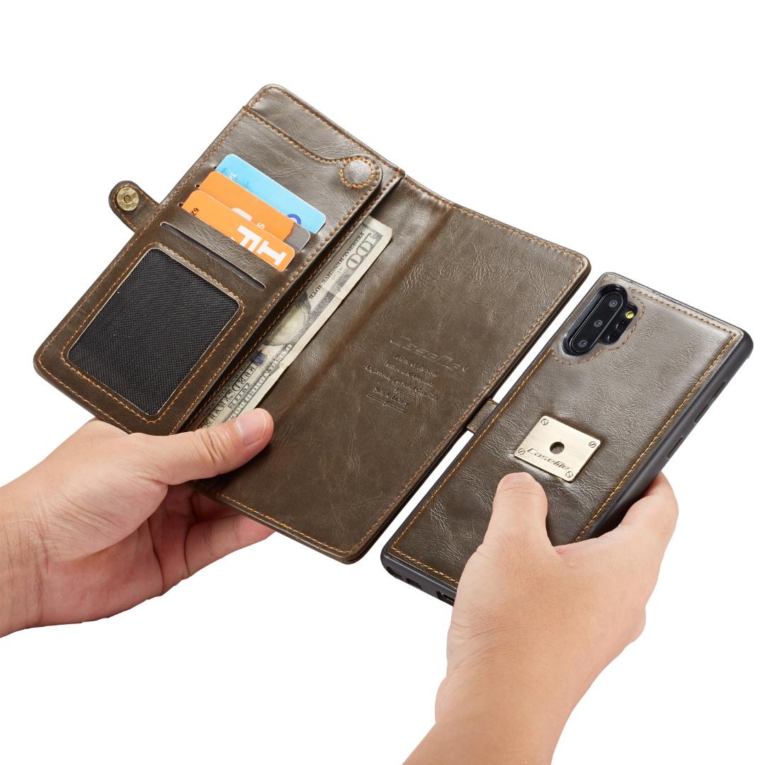 Husa piele portofel, multifunctionala, buzunare carduri, bani, casti, chei, Samsung Galaxy Note 10 Plus - CaseME, Maro coffee