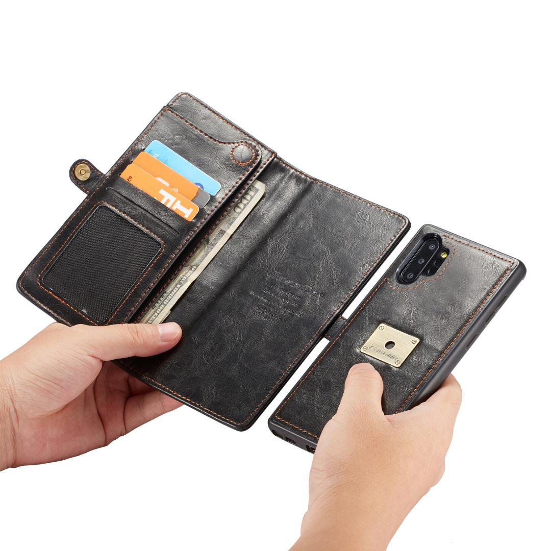 Husa piele portofel, multifunctionala, buzunare carduri, bani, casti, chei, Samsung Galaxy Note 10 Plus - CaseME, Negru