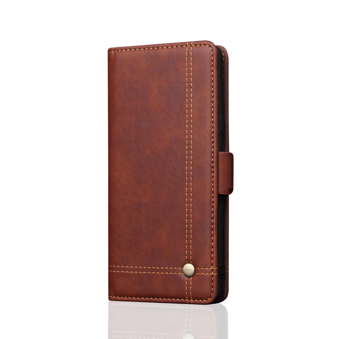 Husa piele, tip portofel, cusaturi ornamentale, stand, inchidere magnetica, Samsung Galaxy Note 10 Plus - CaseMe, Maro coffee