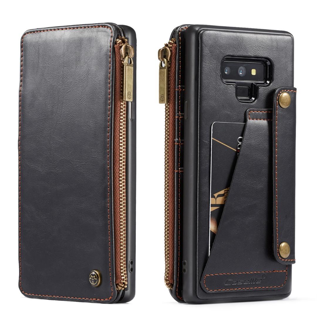 Husa piele portofel detasabil cu capse, buzunar cu fermoar, back cover sau tip carte, Samsung Galaxy Note 9 - CaseME, Negru