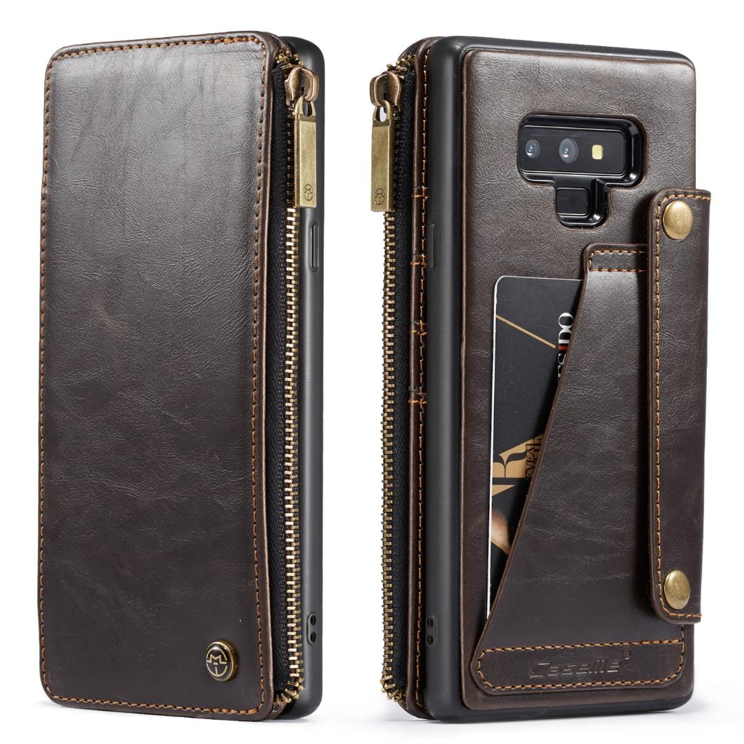 Husa piele portofel detasabil cu capse, buzunar cu fermoar, back cover sau tip carte, Samsung Galaxy Note 9 - CaseME, Maro coffee