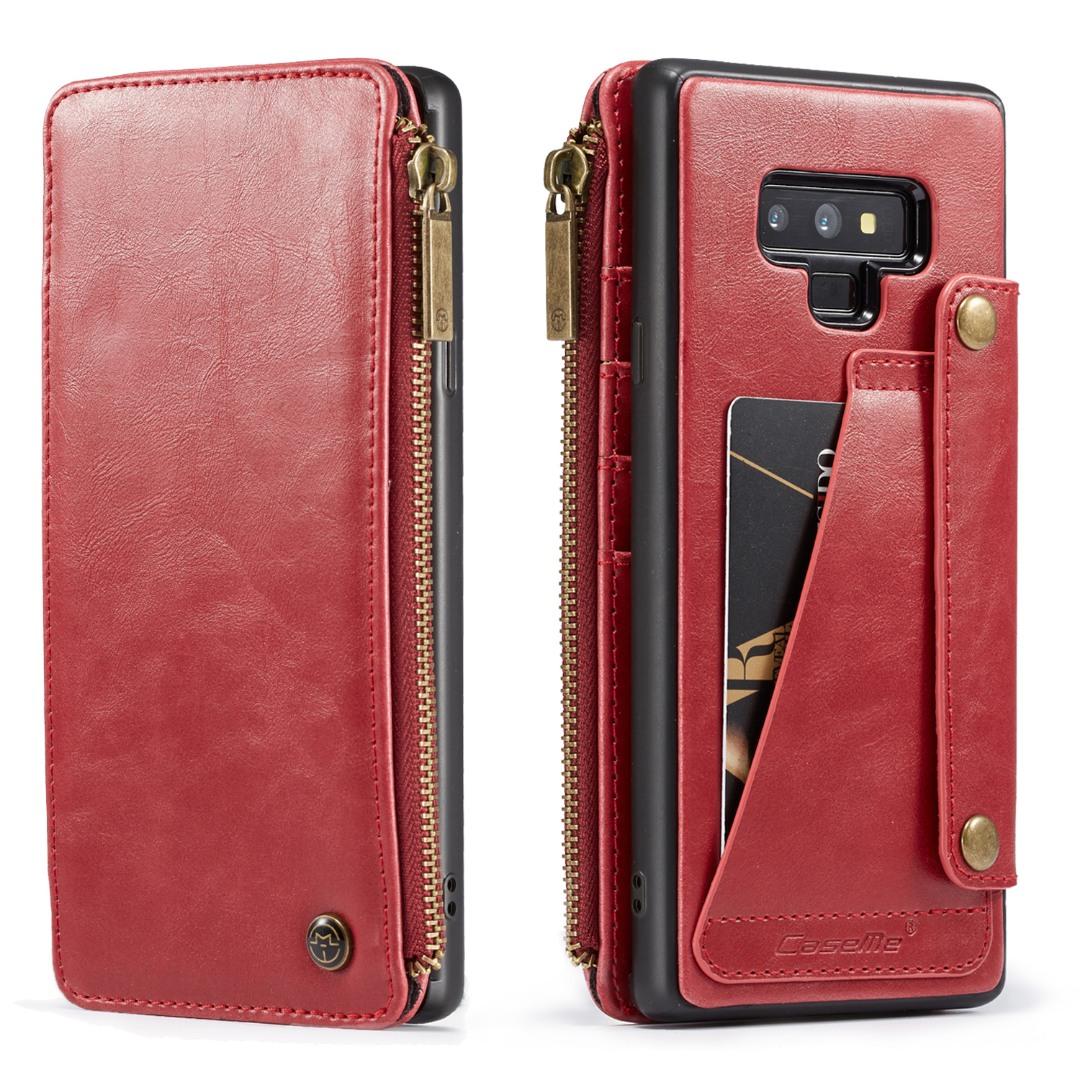Husa piele portofel detasabil cu capse, buzunar cu fermoar, back cover sau tip carte, Samsung Galaxy Note 9 - CaseME, Rosu