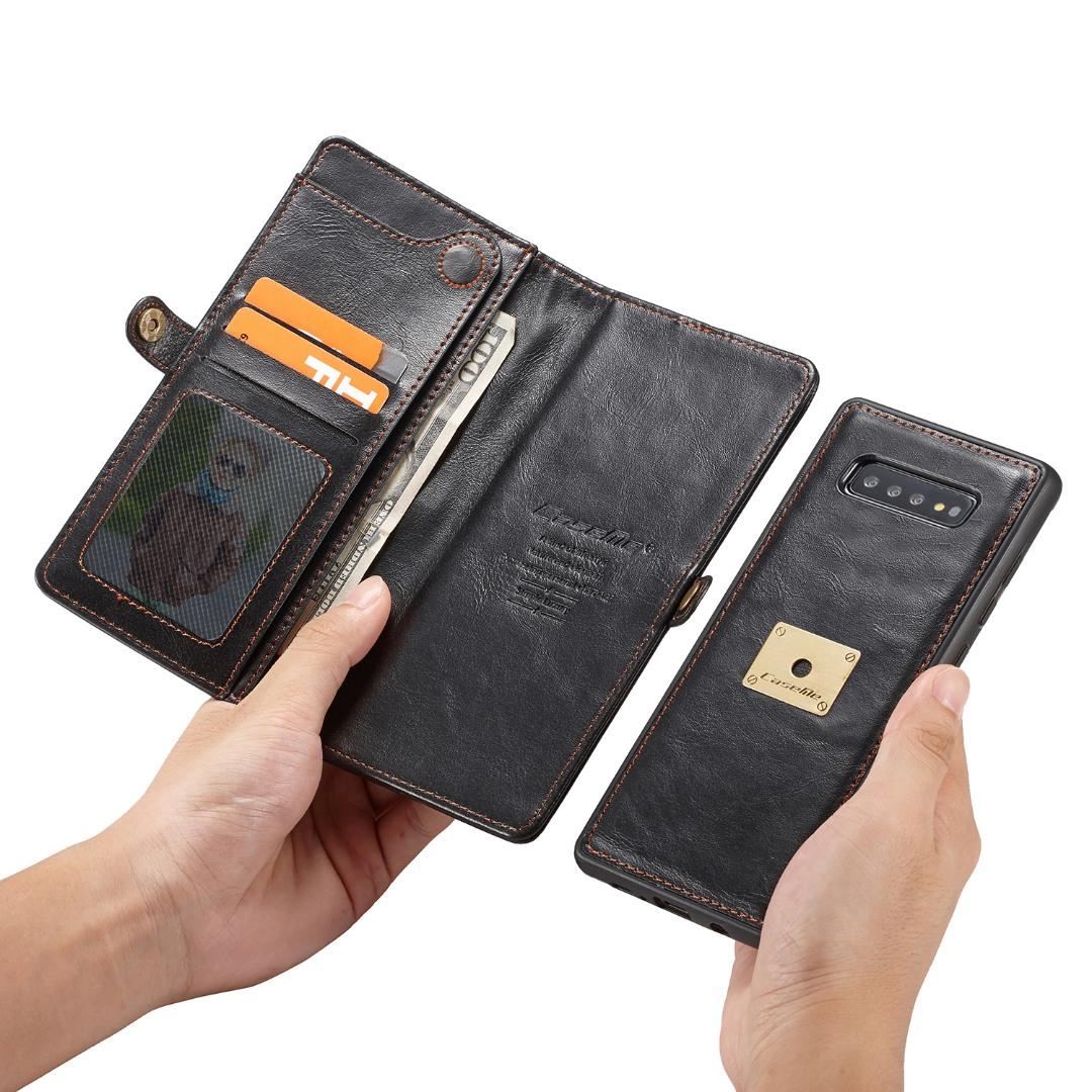 Husa piele portofel, multifunctionala, buzunare carduri, bani, casti, chei, Samsung Galaxy S10 - CaseME, Negru