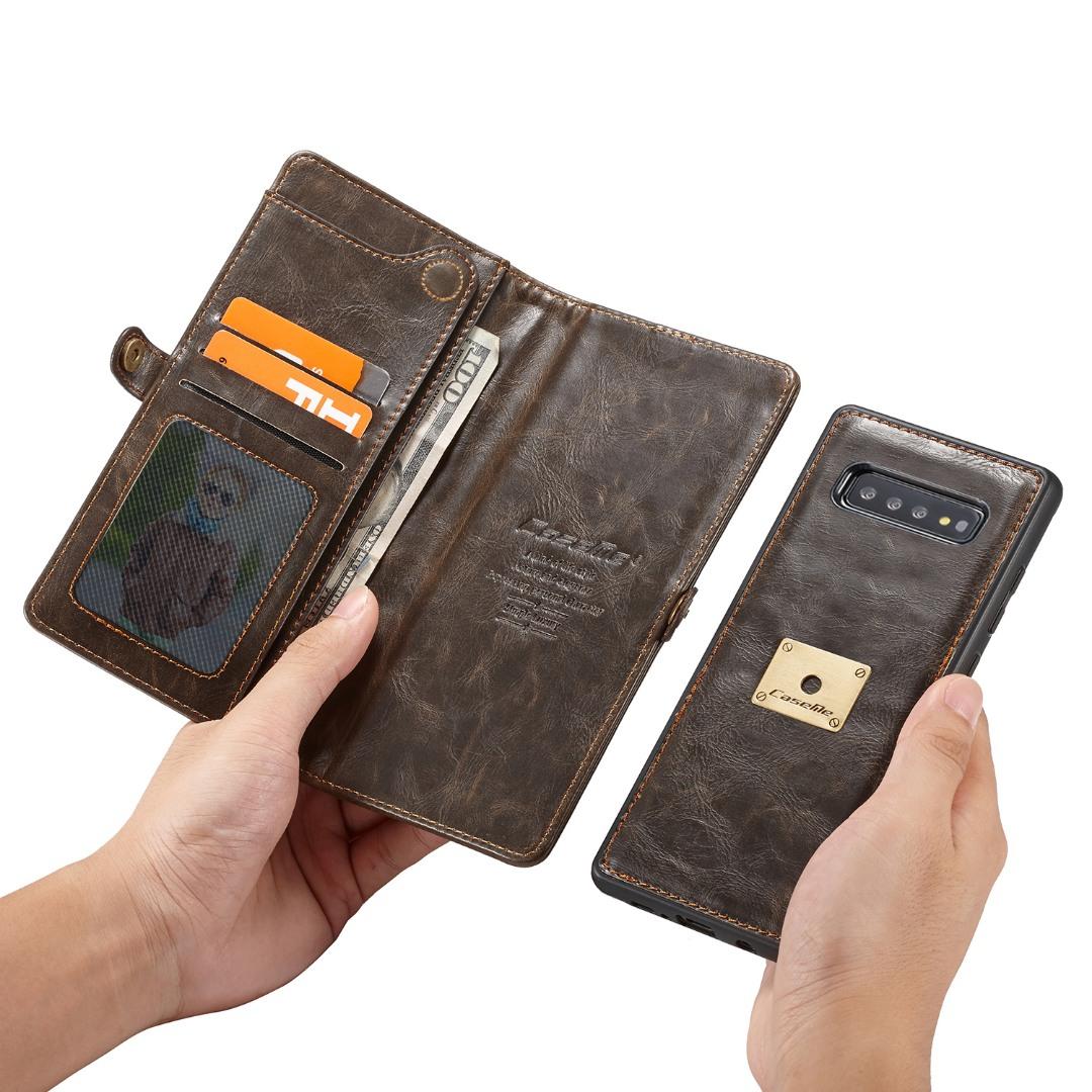 Husa piele portofel, multifunctionala, buzunare carduri, bani, casti, chei, Samsung Galaxy S10 - CaseME, Maro coffee