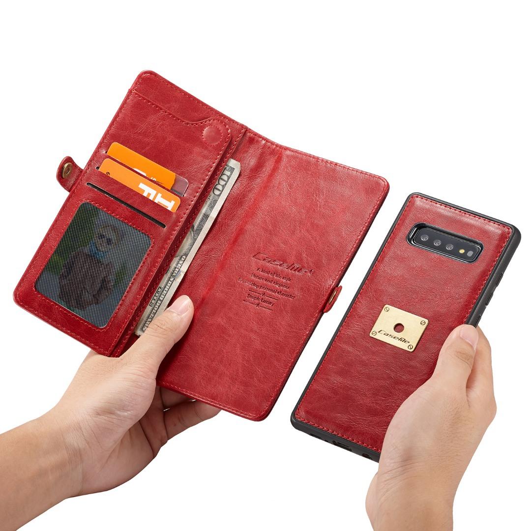 Husa piele portofel, multifunctionala, buzunare carduri, bani, casti, chei, Samsung Galaxy S10 - CaseME, Rosu