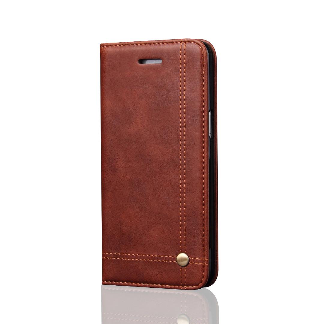 Husa piele, tip portofel, cusaturi ornamentale, stand, inchidere magnetica, Samsung Galaxy S8 - CaseMe, Maro coffee