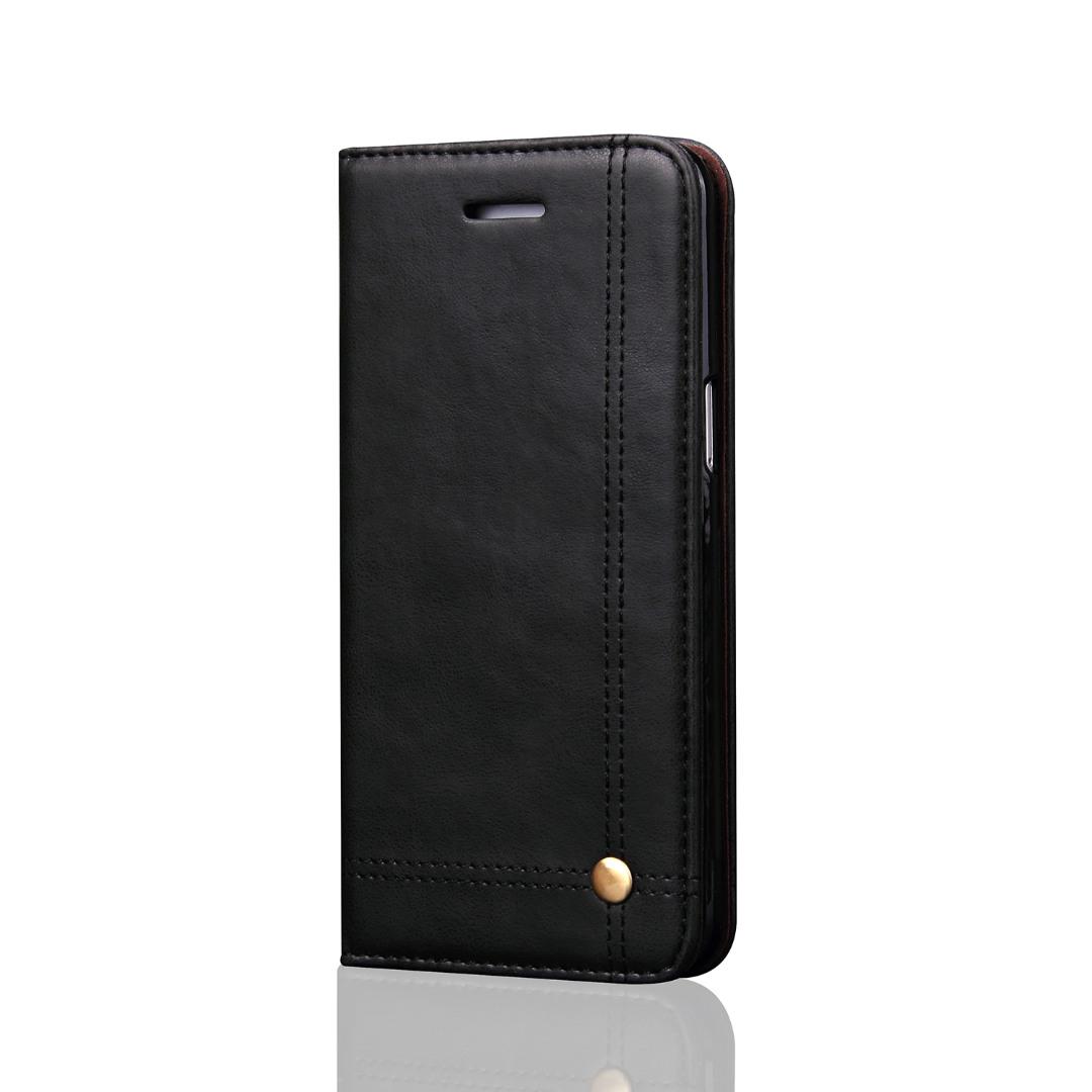 Husa piele, tip portofel, cusaturi ornamentale, stand, inchidere magnetica, Samsung Galaxy S8 Plus - CaseMe, Negru