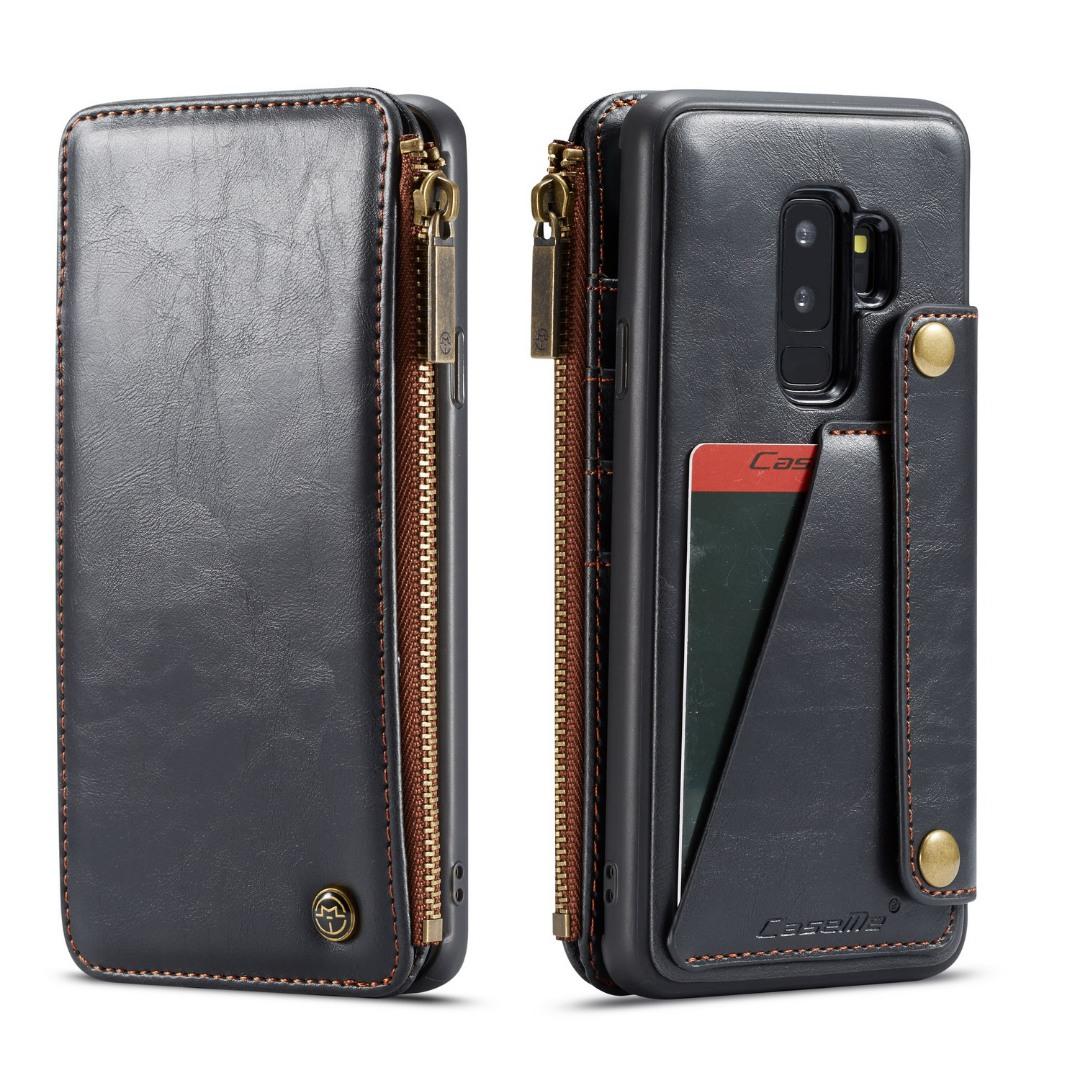 Husa piele portofel detasabil cu capse, buzunar cu fermoar, back cover sau tip carte, Samsung Galaxy S9 Plus - CaseMe, Negru