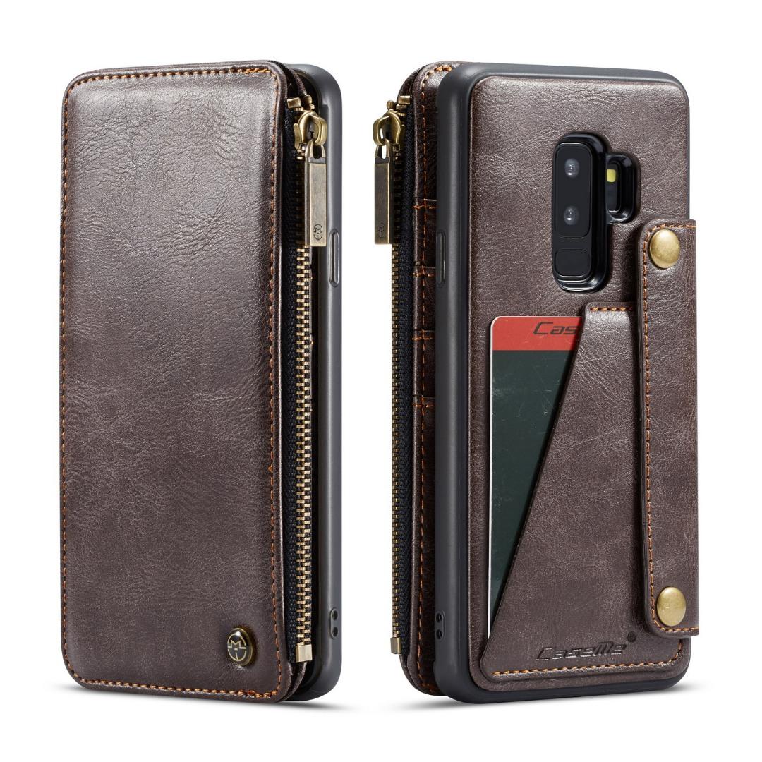 Husa piele portofel detasabil cu capse, buzunar cu fermoar, back cover sau tip carte, Samsung Galaxy S9 Plus - CaseMe, Maro coffee
