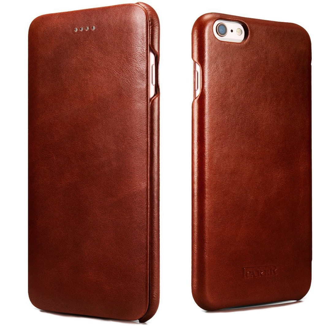 Husa din piele naturala, tip carte, iPhone 6 / 6s - iCarer Vintage Curved Series, Maro coniac
