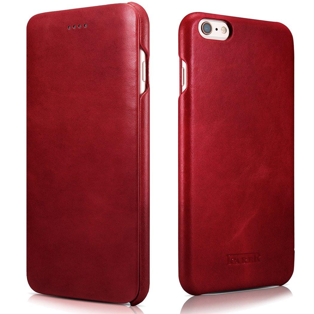 Husa din piele naturala, tip carte, iPhone 6 / 6s - iCarer Vintage Curved Series, Rosu burgund