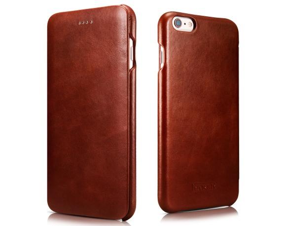 Husa din piele naturala, tip carte, iPhone 6 Plus / 6s Plus - iCarer Vintage Curved, Maro coniac