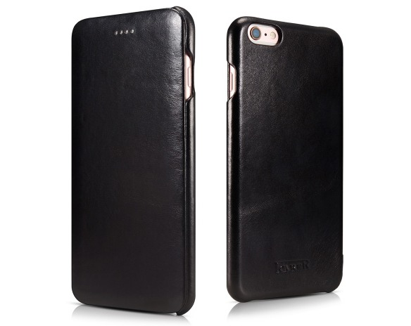 Husa din piele naturala, tip carte, iPhone 6 Plus / 6s Plus - iCarer Vintage Curved, Negru