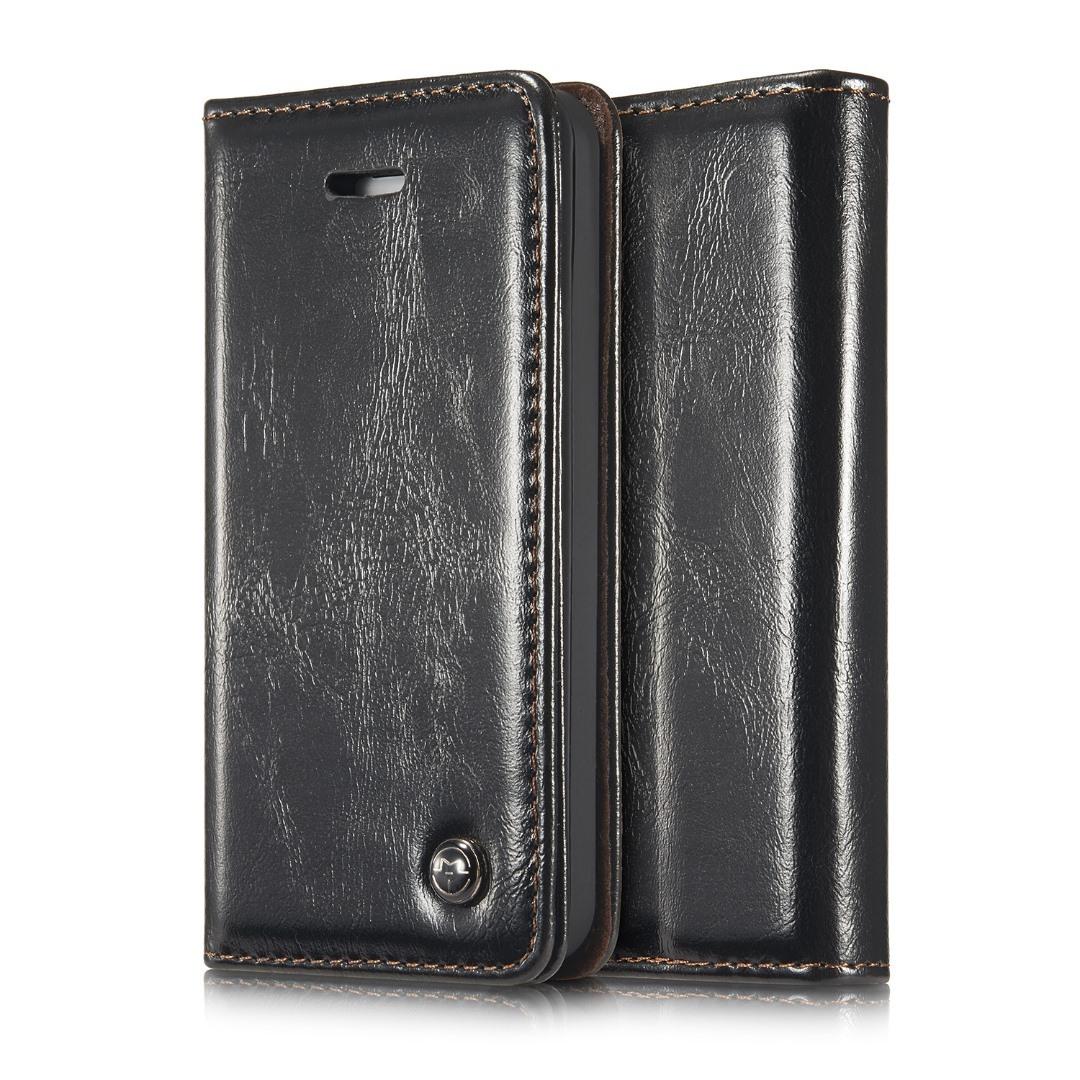 Husa piele fina, tip portofel, stand, inchidere magnetica, iPhone SE (1st gen. 2016), iPhone 5 / 5S - CaseMe, negru