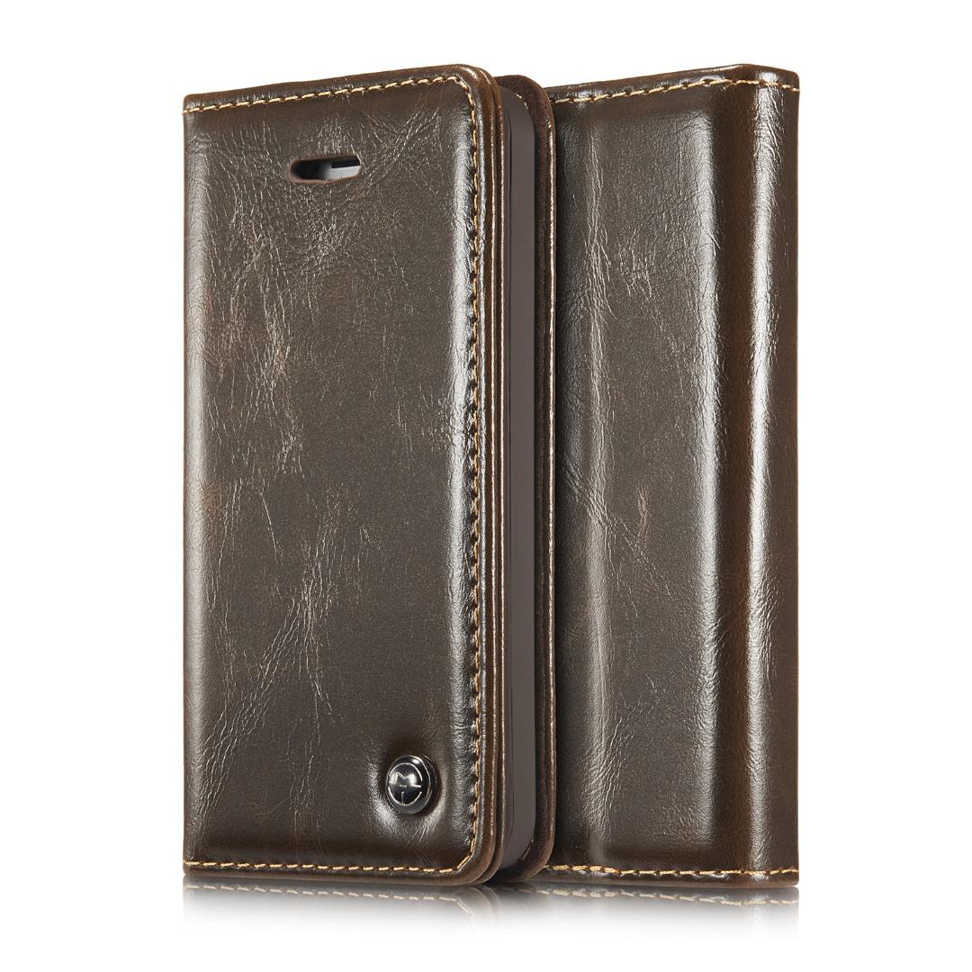 Husa piele fina, tip portofel, stand, inchidere magnetica, iPhone SE / 5 / 5S - CaseMe, maro coffee