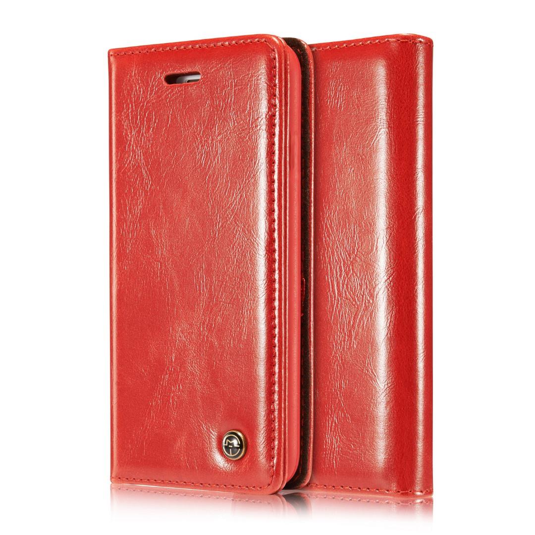 Husa piele fina, tip portofel, stand, inchidere magnetica, iPhone SE / 5 / 5S - CaseMe, rosu