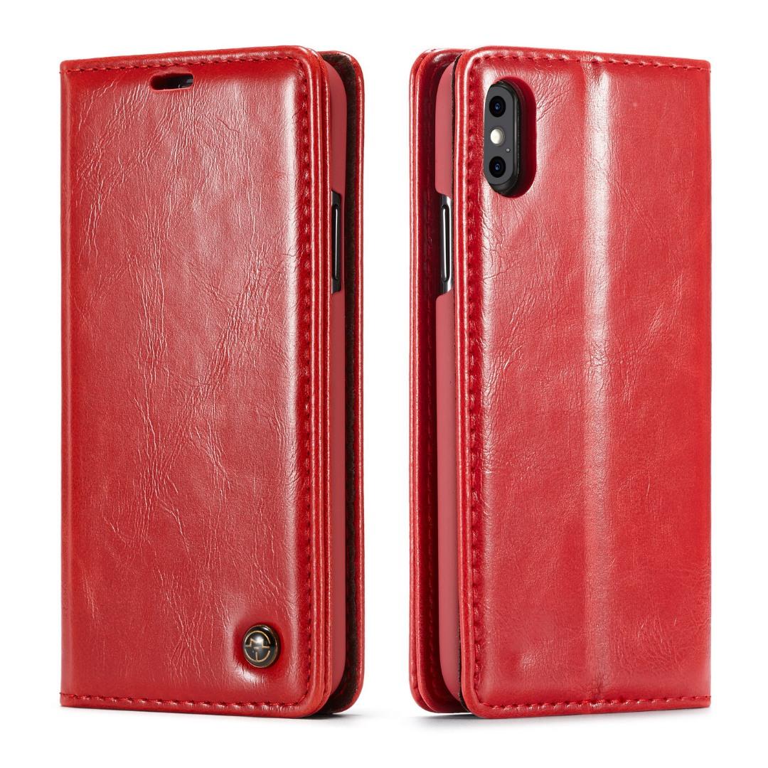 Husa piele fina, tip portofel, stand, inchidere magnetica, iPhone X / XS - CaseMe, Rosu