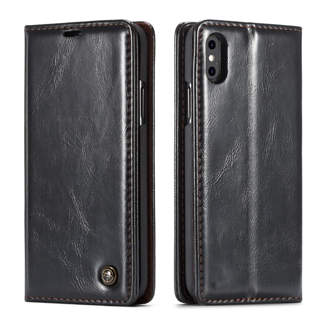 Husa piele fina, tip portofel, stand, inchidere magnetica, iPhone X / XS - CaseMe, Negru