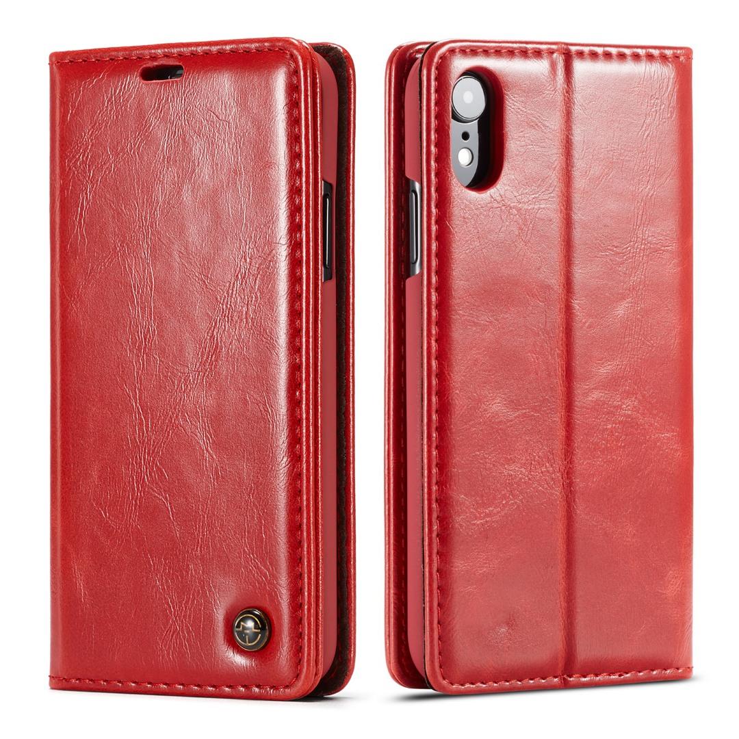 Husa piele fina, tip portofel, stand, inchidere magnetica, iPhone XR - CaseMe, Rosu