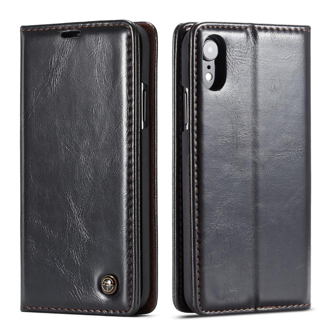 Husa piele fina, tip portofel, stand, inchidere magnetica, iPhone XR - CaseMe, Negru