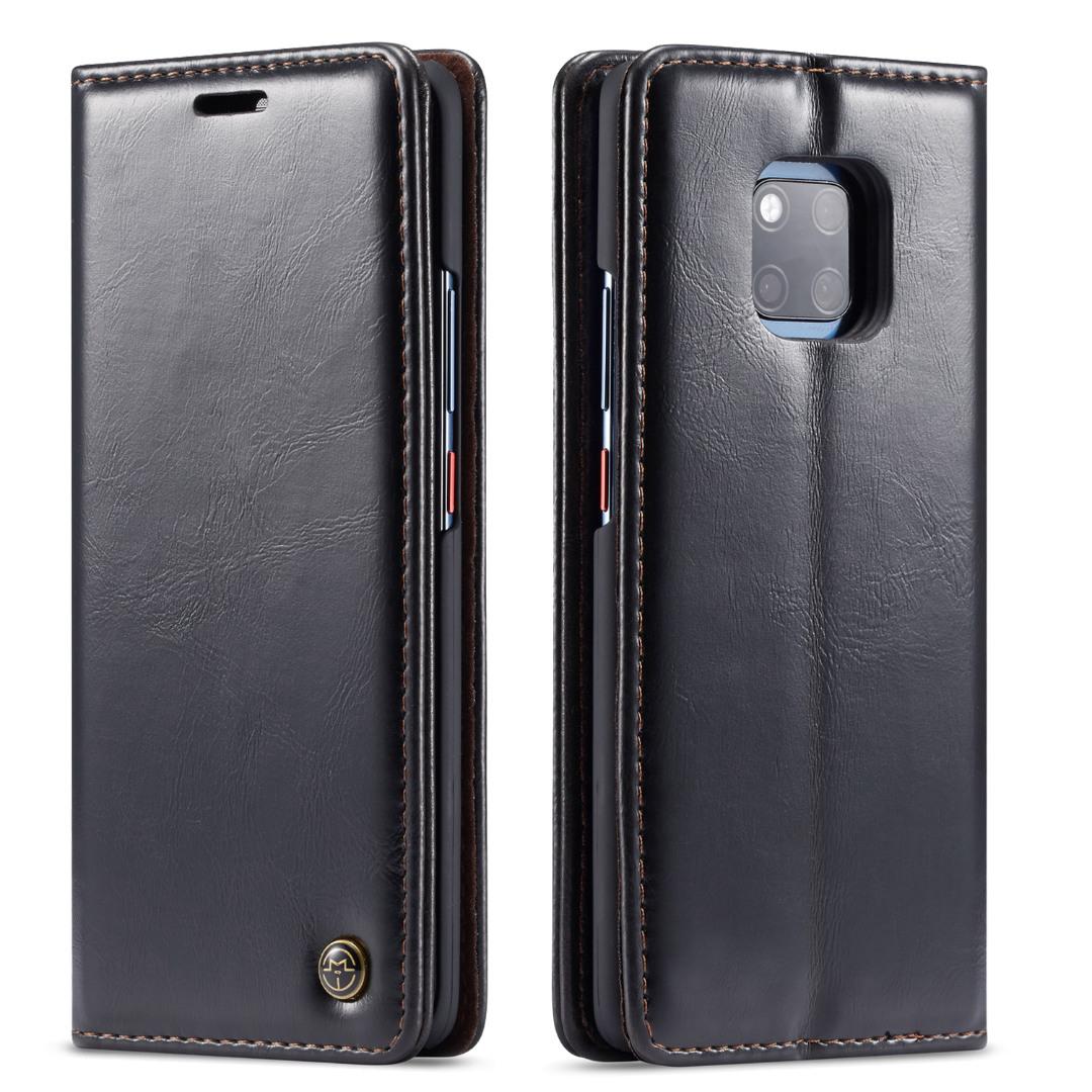 Husa piele fina, tip portofel, stand, inchidere magnetica, Huawei Mate 20 Pro- CaseMe, Negru