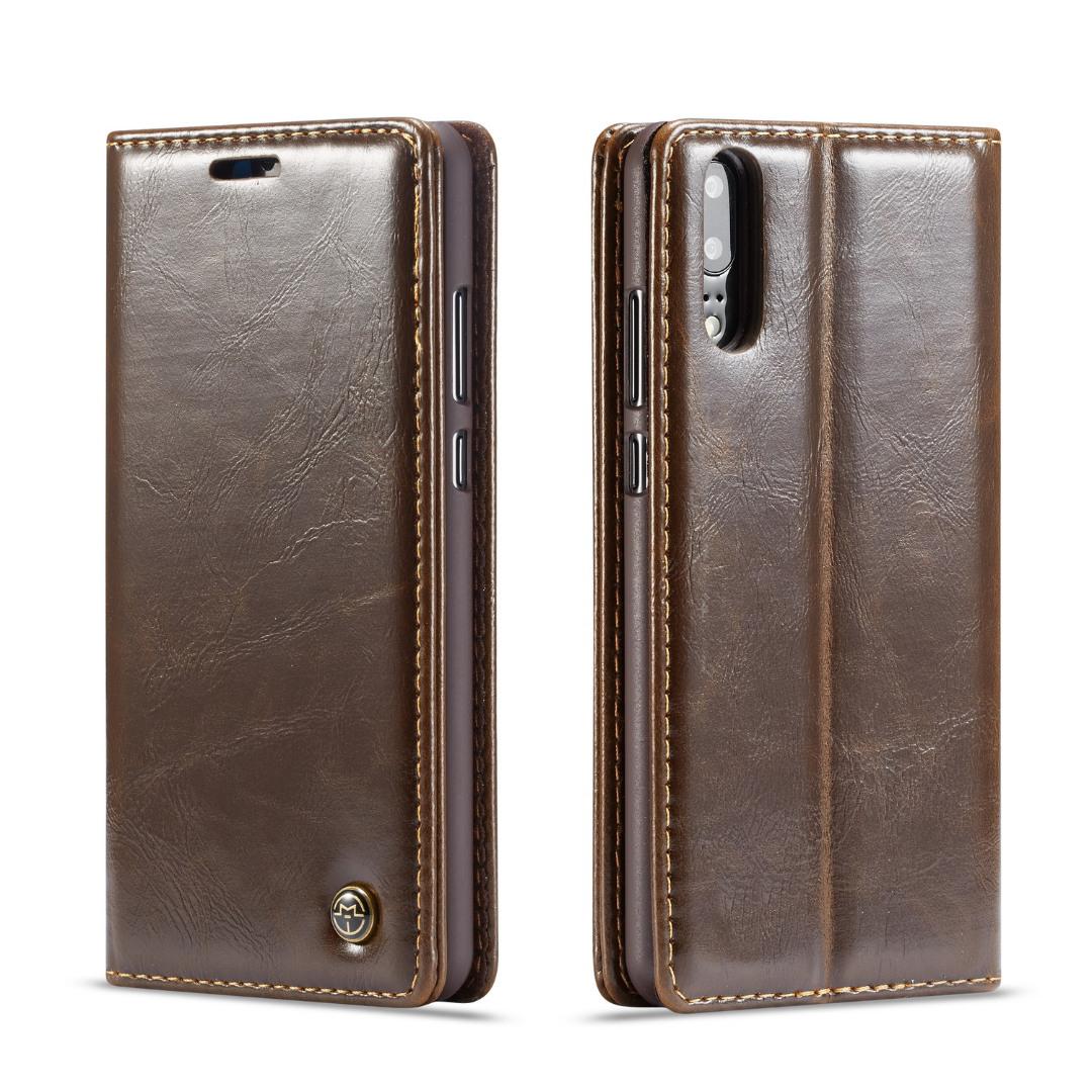 Husa piele fina, tip portofel, stand, inchidere magnetica, Huawei P20 Pro - CaseMe, Maro coffee