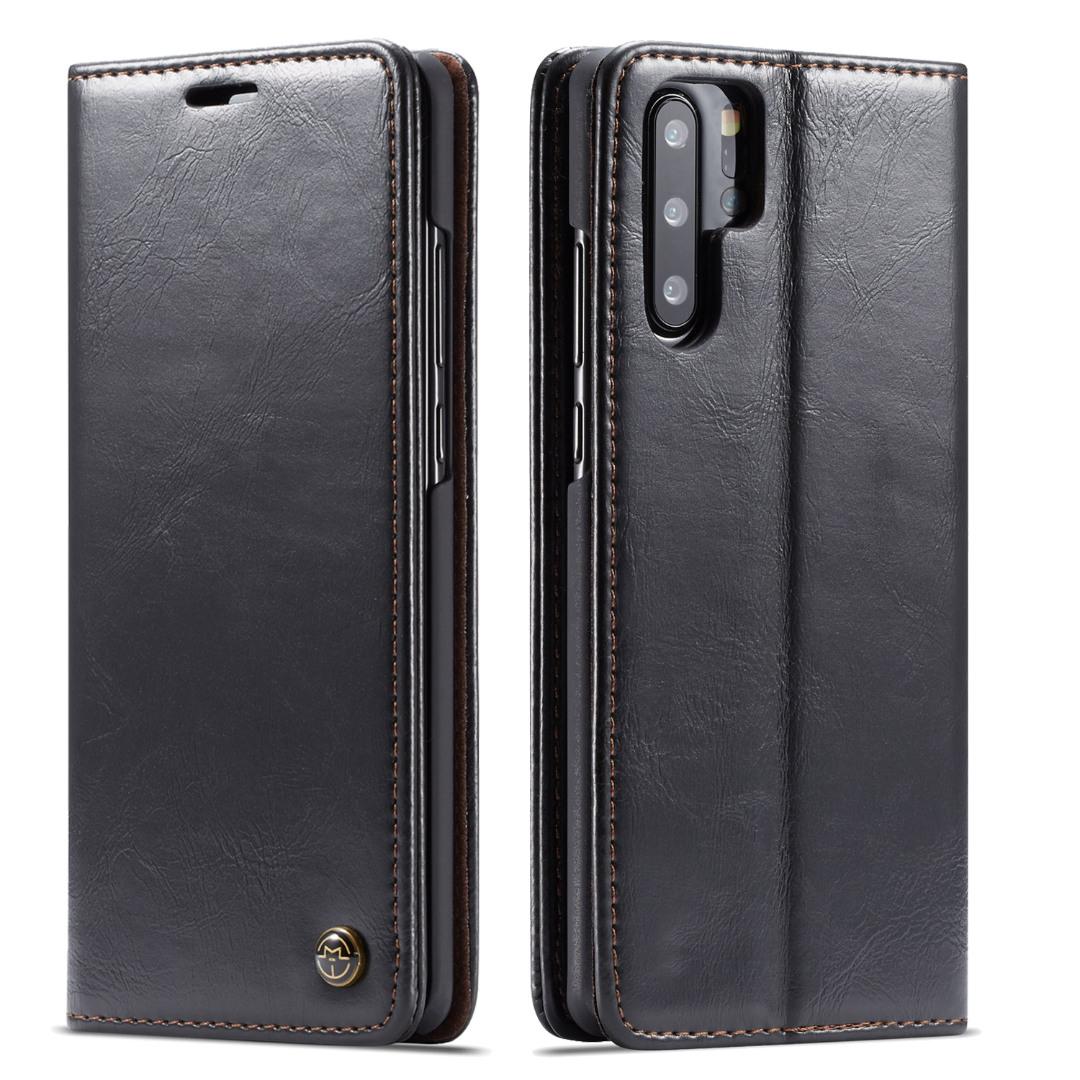Husa piele fina, tip portofel, stand, inchidere magnetica, Huawei P30 Pro - CaseMe, Negru
