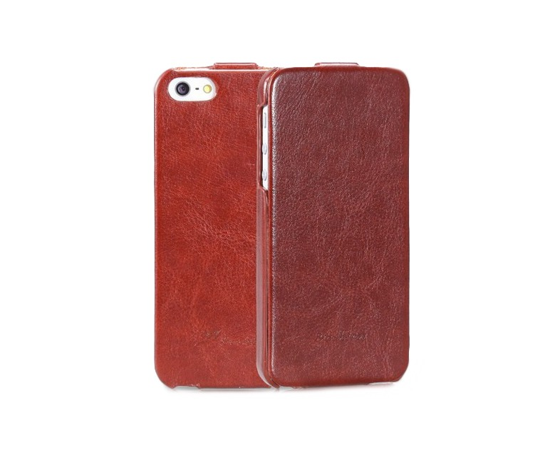 Husa piele fina, tip flip cover, iPhone SE (1st gen. 2016), iPhone 5 / 5S - CaseMe, maro coniac