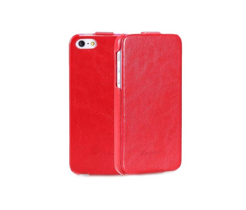 Husa piele fina, tip flip cover, iPhone SE / 5 / 5s - CaseMe, rosu