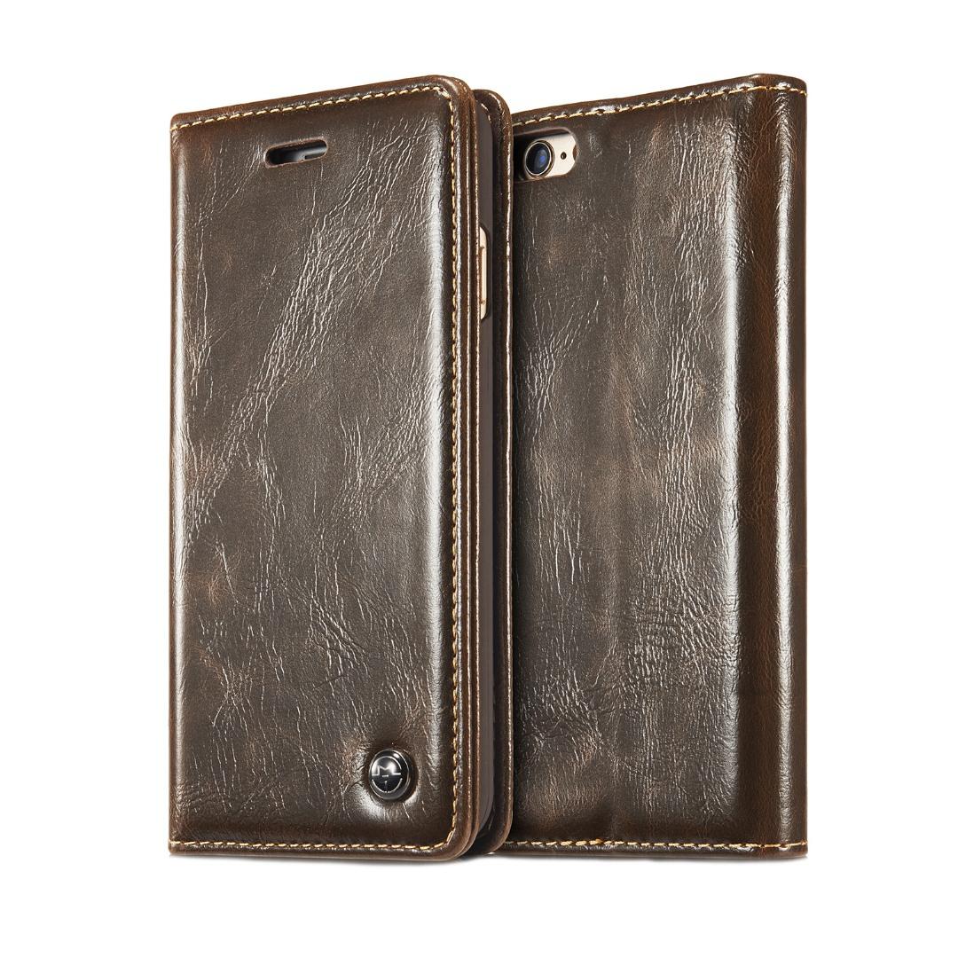 Husa piele fina, tip portofel, stand, inchidere magnetica, iPhone 6 / 6s - CaseMe, Maro coffee