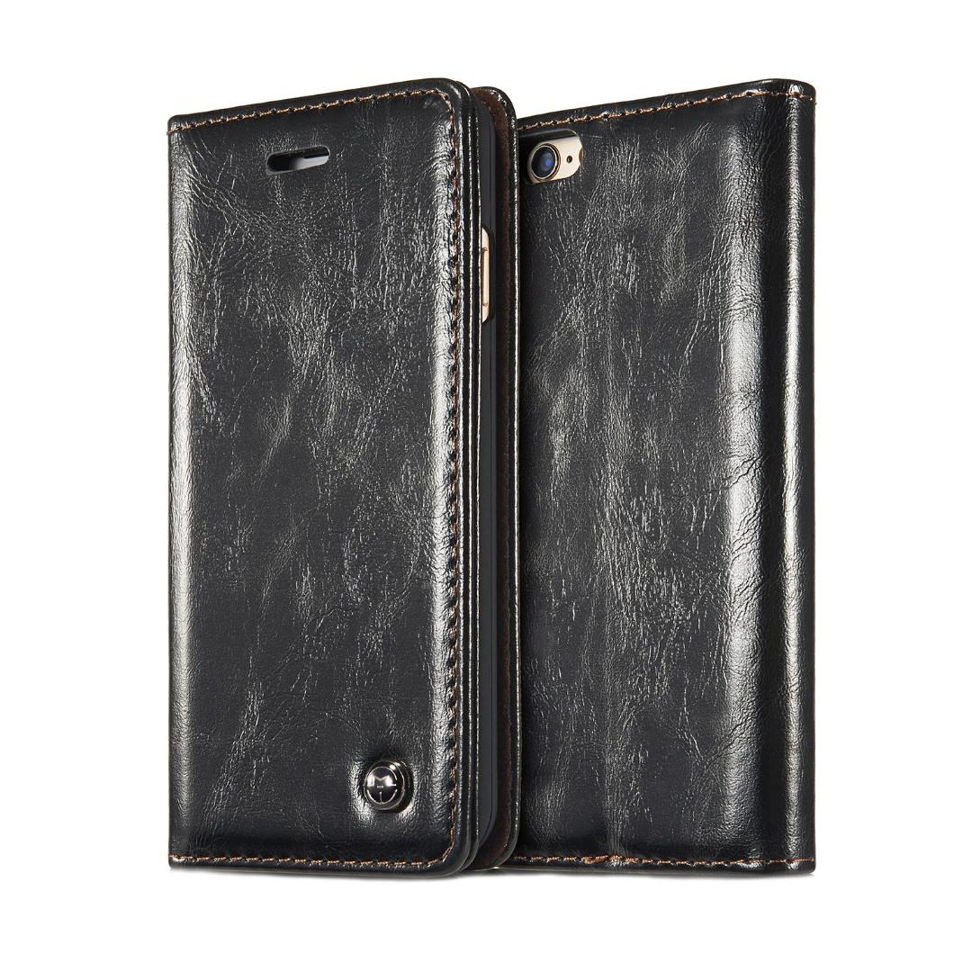 Husa piele fina, tip portofel, stand, inchidere magnetica, iPhone 6 / 6s - CaseMe, Negru