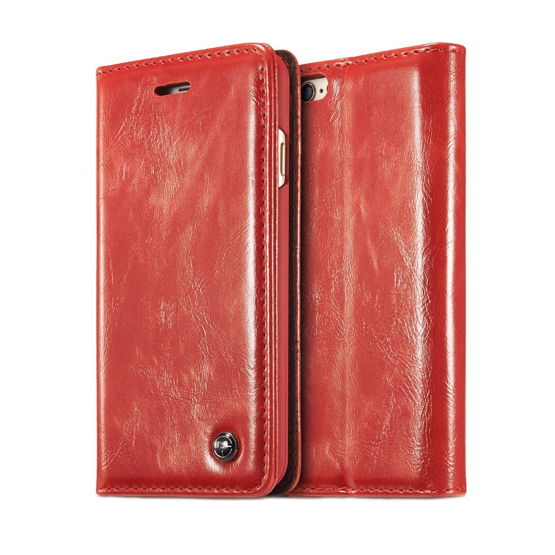 Husa piele fina, tip portofel, stand, inchidere magnetica, iPhone 6 / 6s - CaseMe, Rosu