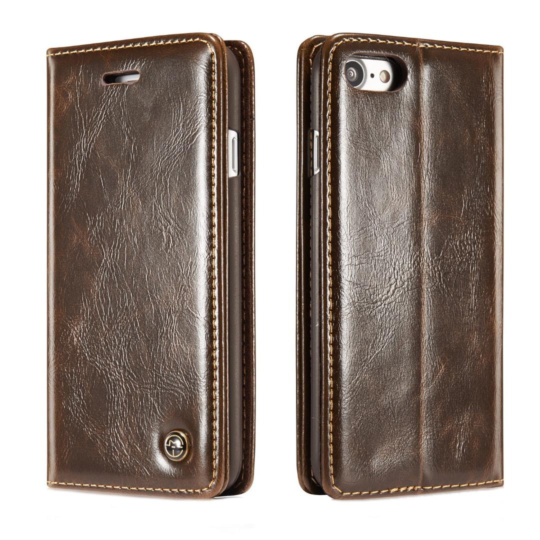 Husa piele fina, tip portofel, stand, inchidere magnetica, iPhone 8 / iPhone 7 - CaseMe, Maro coffee