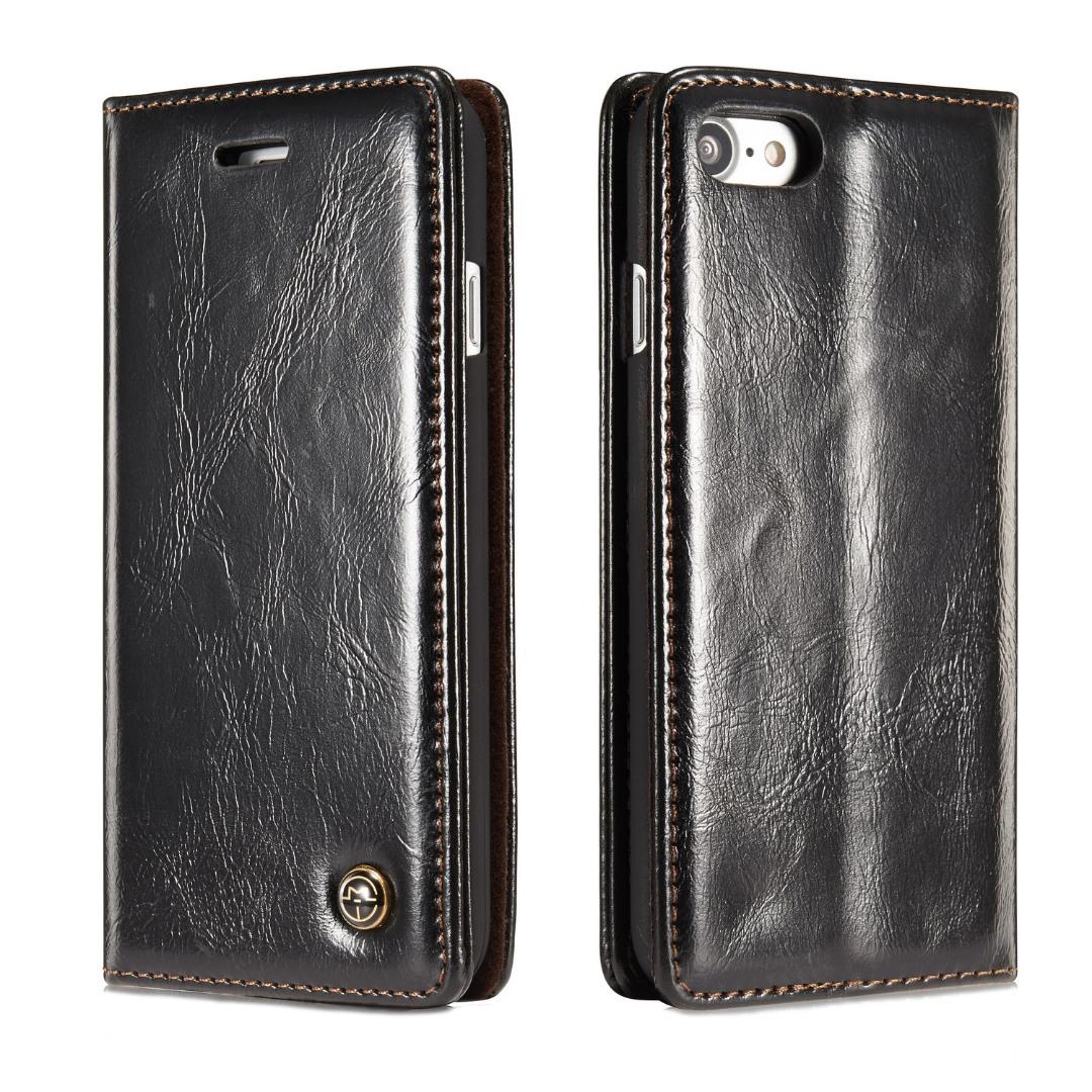 Husa piele fina, tip portofel, stand, inchidere magnetica, iPhone 8 / iPhone 7 - CaseMe, Negru