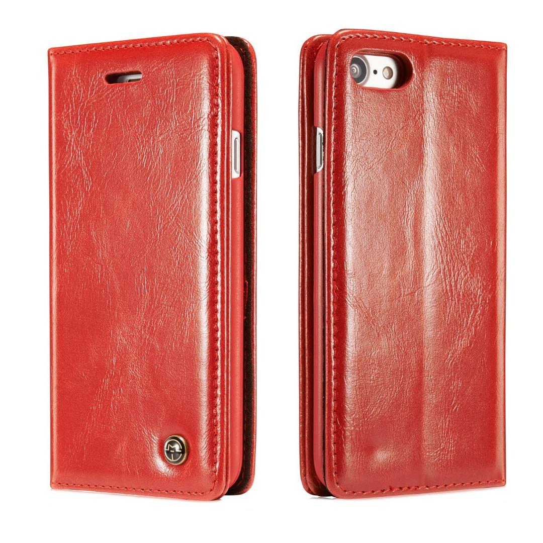 Husa piele fina, tip portofel, stand, inchidere magnetica, iPhone 8 / iPhone 7 - CaseMe, Rosu