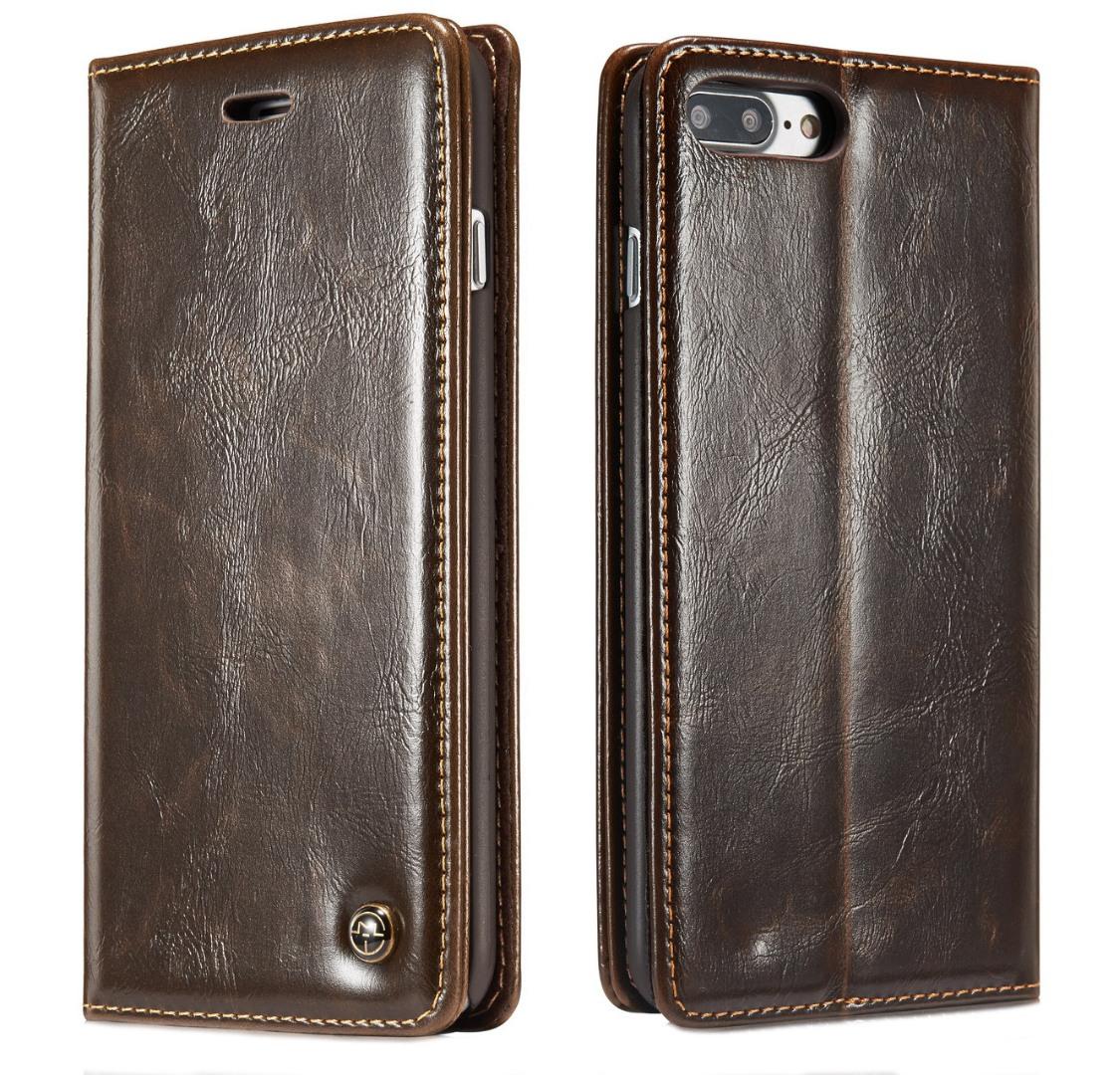 Husa piele fina, tip portofel, stand, inchidere magnetica, iPhone 8 Plus / 7 Plus - CaseMe, Maro coffee
