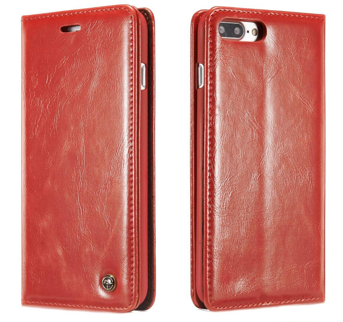 Husa piele fina, tip portofel, stand, inchidere magnetica, iPhone 8 Plus / 7 Plus - CaseMe, Rosu