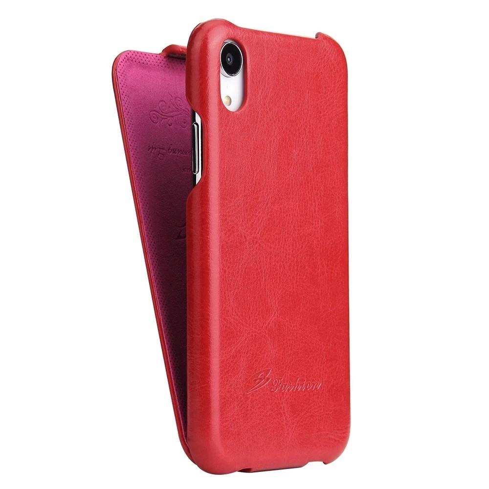Husa piele fina, tip flip cover vertical, iPhone XR - CaseMe, Rosu