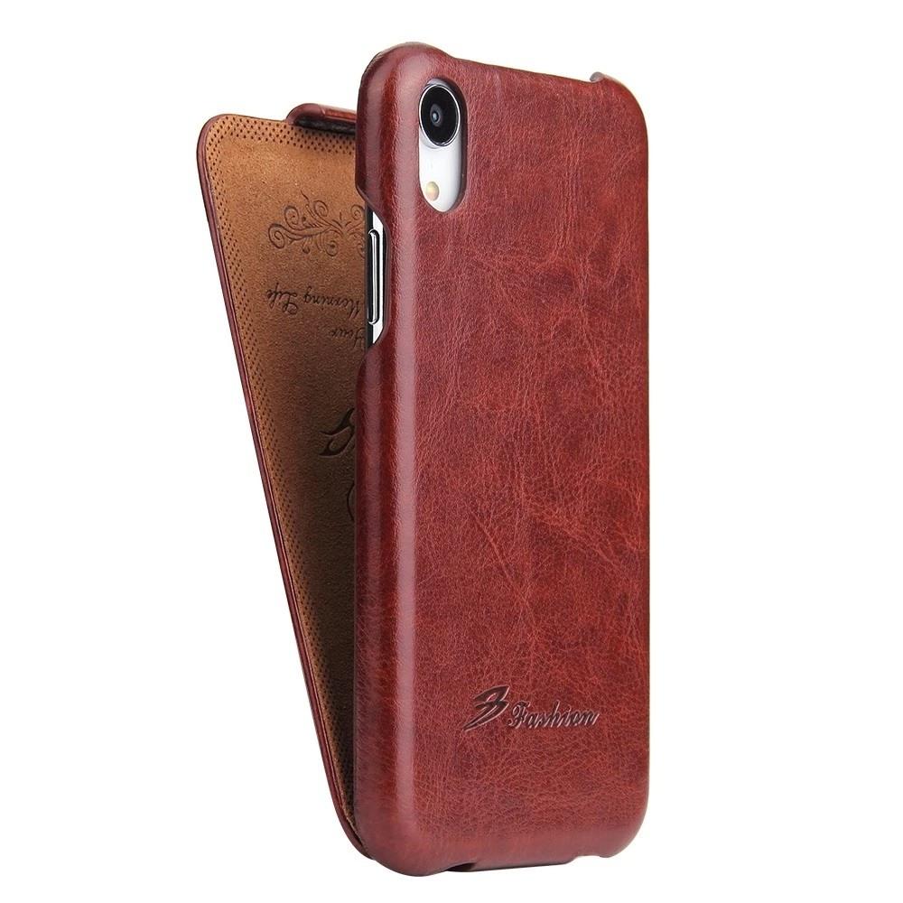 Husa piele fina, tip flip cover vertical, iPhone XR - CaseMe, Maro coniac