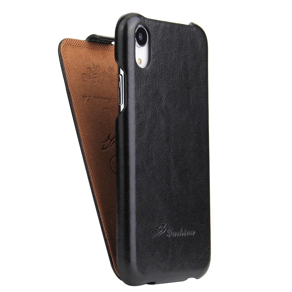 Husa piele fina, tip flip cover vertical, iPhone XR - CaseMe, Negru