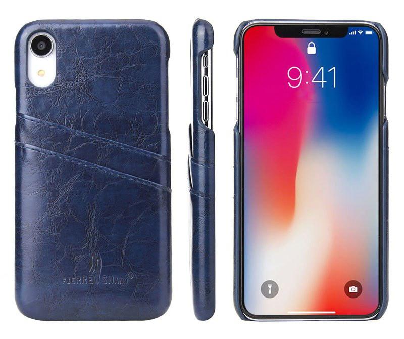 Husa slim din piele fina cu textura vintage, back cover, slot carduri, iPhone XR - CaseMe, Albastru