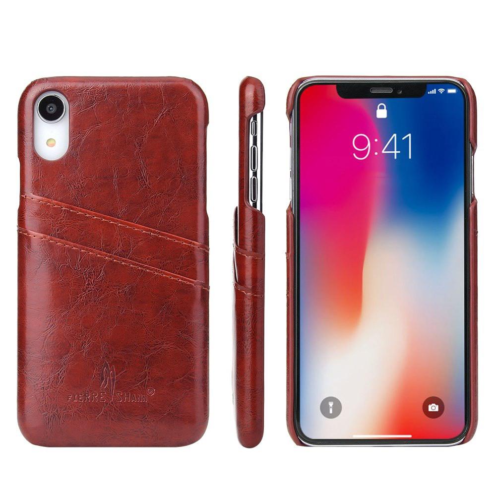 Husa slim din piele fina cu textura vintage, back cover, slot carduri, iPhone XR - CaseMe, Maro coniac