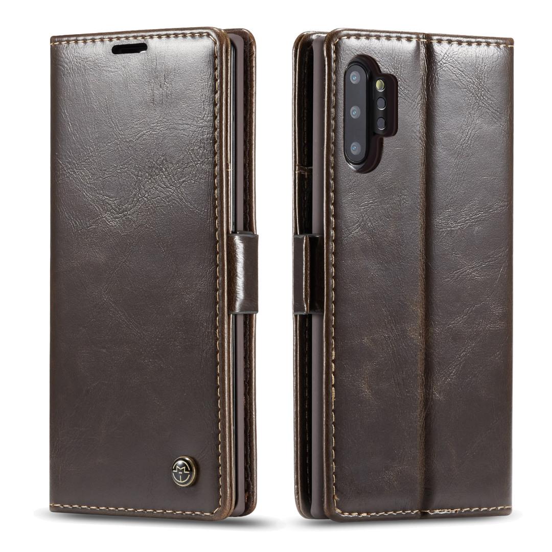 Husa piele fina, tip portofel, stand, inchidere magnetica, Samsung Galaxy Note 10 Plus, CaseMe, Maro coffee