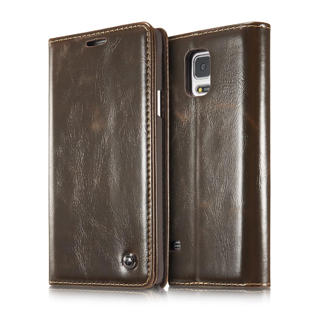 Husa piele fina, tip portofel, stand, inchidere magnetica, Samsung Galaxy Note 4 - CaseMe, Maro coffee