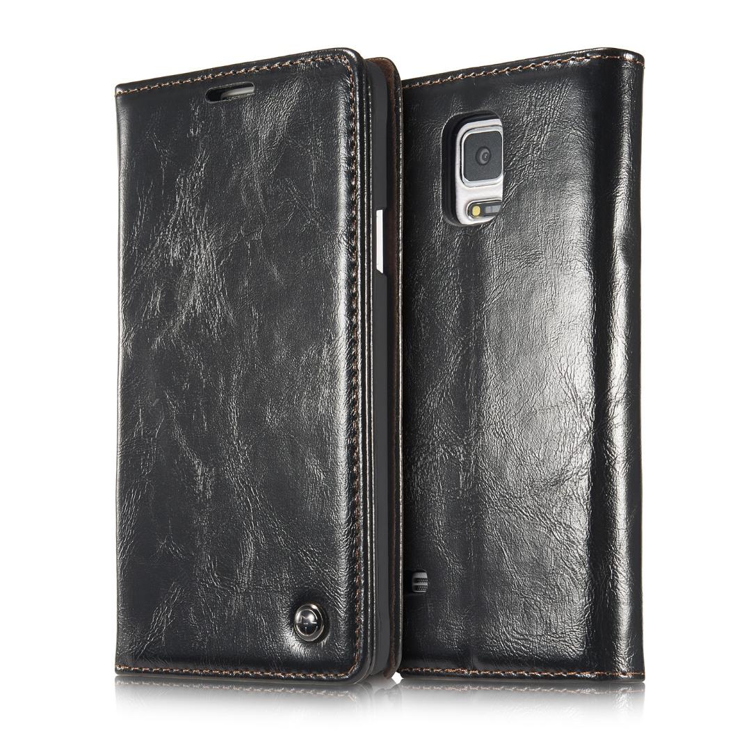 Husa piele fina, tip portofel, stand, inchidere magnetica, Samsung Galaxy Note 4 - CaseMe, Negru