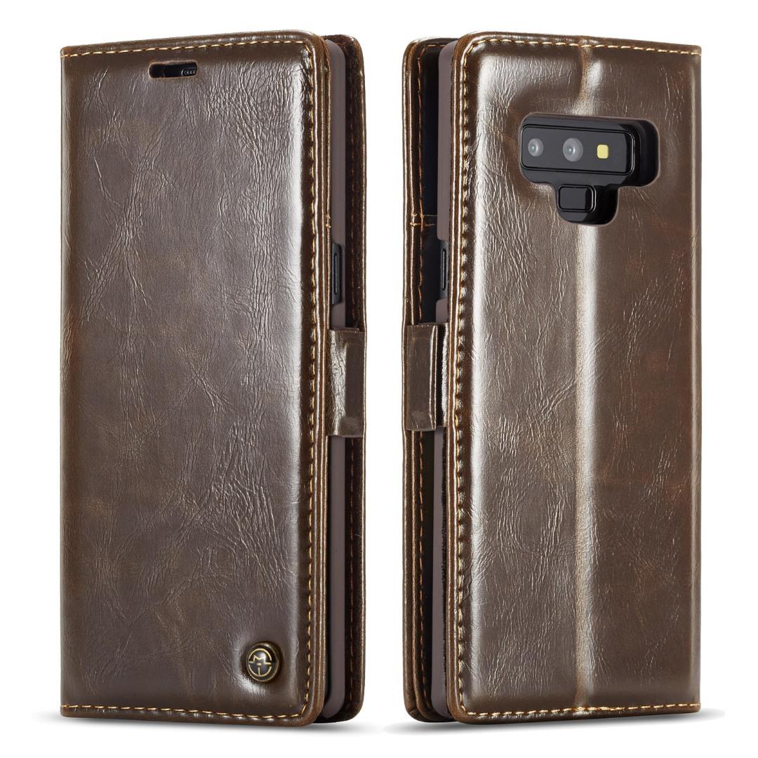 Husa piele fina, tip portofel, stand, inchidere magnetica, Samsung Galaxy Note 9, CaseMe, Maro coffee