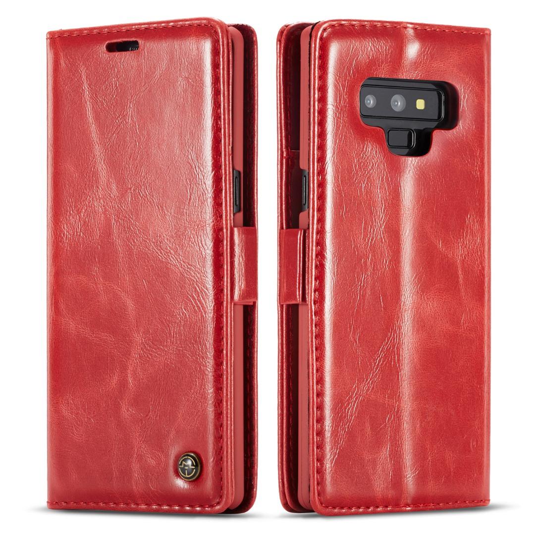 Husa piele fina, tip portofel, stand, inchidere magnetica, Samsung Galaxy Note 9, CaseMe, Rosu