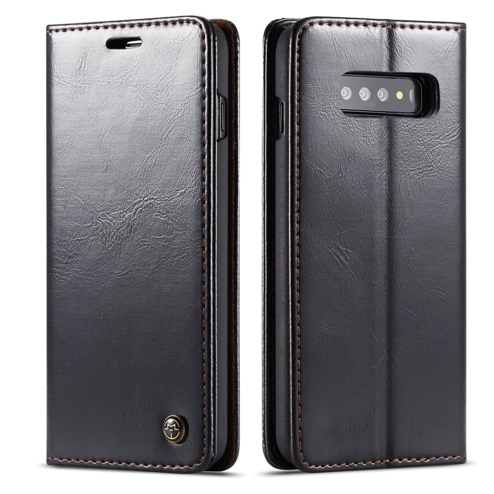 Husa piele fina, tip portofel, stand, inchidere magnetica, Samsung Galaxy S10 Plus - CaseMe, Negru